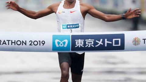 <p>               Birhanu Legese of Ethiopia crosses the finish line, winning the Tokyo Marathon in Tokyo, Sunday, March 3, 2019. (Jun Hirata/Kyodo News via AP)             </p>