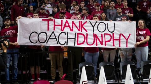 <p>               Fans with a sign for Temple's head coach Fran Dunphy prior to the first half of an NCAA college basketball game against Central Florida, Saturday, March 9, 2019, in Philadelphia. (AP Photo/Chris Szagola)             </p>