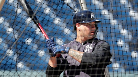 <p>               In this Feb. 14, 2019, photo, New York Yankees catcher Gary Sanchez bats at the New York Yankees spring training baseball facility in Tampa, Fla. The New York Yankees open the season with likely baseball's most accomplished injured list. Still, the Yankees have among the most formidable batting orders in the major leagues, a power plant that includes Sanchez, Giancarlo Stanton and Aaron Judge. (AP Photo/Lynne Sladky)             </p>