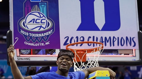 <p>               Duke's Zion Williamson celebrates Duke's win over Florida State after cutting a piece of a net after the NCAA college basketball championship game of the Atlantic Coast Conference tournament in Charlotte, N.C., Saturday, March 16, 2019. (AP Photo/Nell Redmond)             </p>