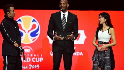 <p>               Former NBA basketball player and FIBA World Cup Ambassador Kobe Bryant, center, speaks during the draw ceremony for the 2019 FIBA Basketball World Cup in Shenzhen in southern China's Guangdong Province, Saturday, March 16, 2019. The competition will take place in 8 cities across China later this year. (Chinatopix via AP)             </p>