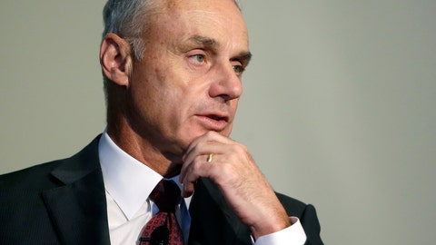 <p>               FILE - In this Wednesday, March 6, 2019, file photo, Major League Baseball Commissioner Rob Manfred addresses an audience at a gathering of the Boston College Chief Executives Club in Boston. Good but unexceptional veterans must realize teams find them less valuable in the age of analytics, Manfred maintained ahead of season openers. Players have expressed anger following the second straight slow free-agent market. There have been record deals for top stars and plummeting prices for many journeymen. (AP Photo/Steven Senne, File)             </p>