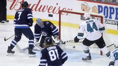 <p>               San Jose Sharks' Marc-Edouard Vlasic (44) scores on Winnipeg Jets goaltender Connor Hellebuyck (37) during the first period of an NHL hockey game in Winnipeg, Manitoba, Tuesday, March 12, 2019. (Trevor Hagan/The Canadian Press via AP)             </p>