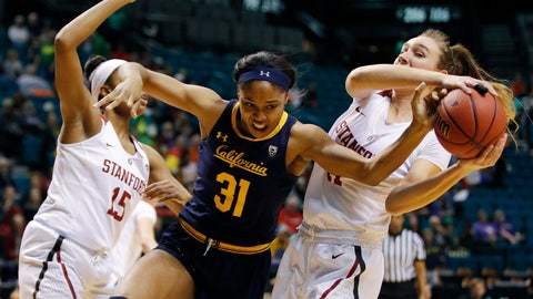 <p>               Stanford's Maya Dodson, left, and Alanna Smith, right, battle for the ball with California's Kristine Anigwe during the first half of an NCAA college basketball game at the Pac-12 women's tournament Friday, March 8, 2019, in Las Vegas. (AP Photo/John Locher)             </p>