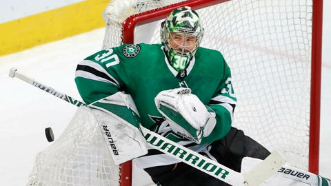 <p>               Dallas Stars goaltender Ben Bishop (30) defends the coal during the second period of an NHL hockey game against the New York Rangers in Dallas, Tuesday, March 5, 2019. (AP Photo/LM Otero) B             </p>