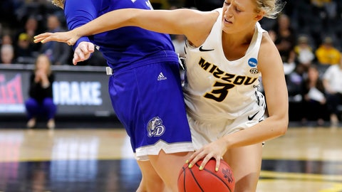 <p>               Missouri guard Sophie Cunningham, right, is fouled by Drake guard Maddy Dean during a first-round women's college basketball game in the NCAA Tournament, Friday, March 22, 2019, in Iowa City, Iowa. (AP Photo/Charlie Neibergall)             </p>