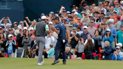 <p>               Tiger Woods, left, and Kevin Na share a laugh after putting out on the 17th green during the third round of The Players Championship golf tournament Saturday, March 16, 2019, in Ponte Vedra Beach, Fla. (AP Photo/Gerald Herbert)             </p>