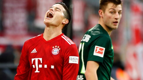 <p>               Bayern's James reacts during the German Bundesliga soccer match between FC Bayern Munich and VfL Wolfsburg in Munich, Germany, Saturday, March 9, 2019. (AP Photo/Matthias Schrader)             </p>