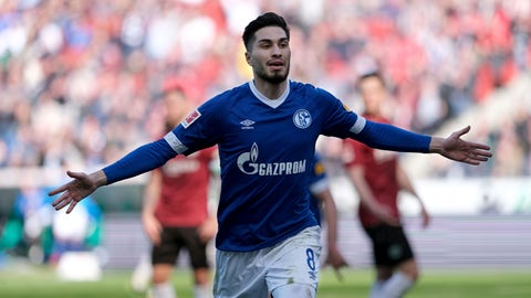 <p>               Schalke's Suat Serdar celebrates after scoring during the German Bundesliga soccer match between Hannover 96 and FC Schalke 04 in Hannover, Germany, Sunday, March 31, 2019. (Peter Steffen/dpa via AP)             </p>