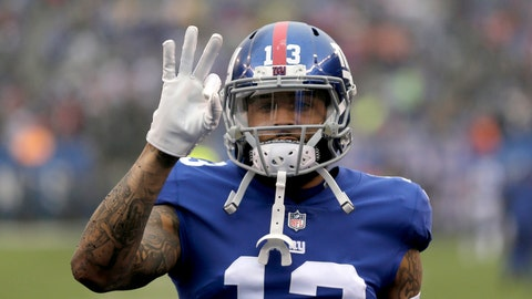 <p>               FILE - In this Dec. 2, 2018, file photo, New York Giants wide receiver Odell Beckham Jr. gestures prior to the team's NFL football game against the Chicago Bears in East Rutherford, N.J. Two people familiar with the blockbuster trade say the Cleveland Browns have agreed to acquire Beckham from the Giants. (AP Photo/Seth Wenig, File)             </p>