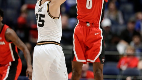 <p>               Georgia guard William Jackson II (0) defends against Missouri guard Jordan Geist (15) in the first half of an NCAA college basketball game at the Southeastern Conference tournament, Wednesday, March 13, 2019, in Nashville, Tenn. (AP Photo/Mark Humphrey)             </p>
