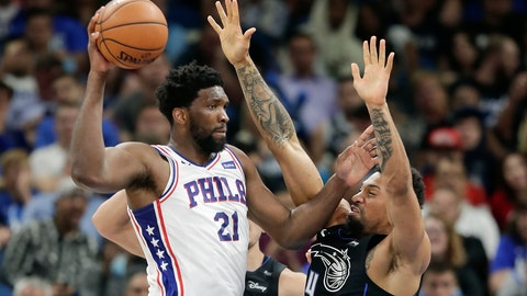 <p>               Philadelphia 76ers' Joel Embiid (21) passes the ball around Orlando Magic's Khem Birch during the second half of an NBA basketball game, Monday, March 25, 2019, in Orlando, Fla. (AP Photo/John Raoux)             </p>