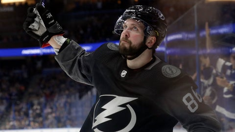 <p>               Tampa Bay Lightning right wing Nikita Kucherov celebrates his goal against the Ottawa Senators during the second period of an NHL hockey game Saturday, March 2, 2019, in Tampa, Fla. (AP Photo/Chris O'Meara)             </p>