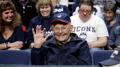 <p>               Connecticut fan Harold Oehler, 101, waves from his front row seat during the second half of a regional championship final between Louisville and Connecticut in the NCAA women's college basketball tournament, Sunday, March 31, 2019, in Albany, N.Y. (AP Photo/Kathy Willens)             </p>