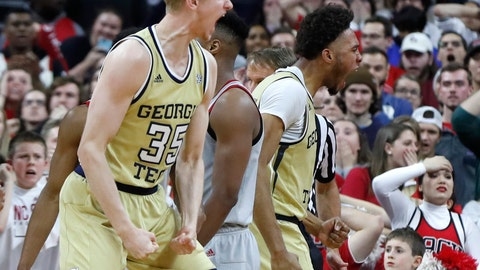 <p>               Georgia Tech's James Banks III, right and Kristian Sjolund (35) celebrate after Banks made a shot while being fouled with one second left in the team's NCAA college basketball game against North Carolina State in Raleigh, N.C., Wednesday, March, 6, 2019. (Ethan Human/The News & Observer via AP)             </p>