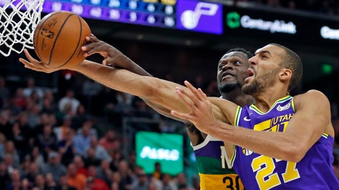 <p>               New Orleans Pelicans center Julius Randle (30) blocks a layup by Utah Jazz center Rudy Gobert (27) in the second half during an NBA basketball game Monday, March 4, 2019, in Salt Lake City. (AP Photo/Rick Bowmer)             </p>