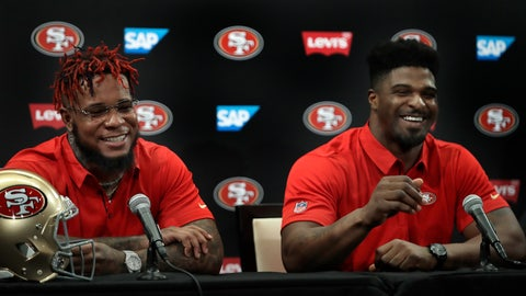 <p>               San Francisco 49ers' Kwon Alexander, left, and Dee Ford smile while answering questions during an NFL news conference Thursday, March 14, 2019, in Santa Clara, Calif. (AP Photo/Ben Margot)             </p>