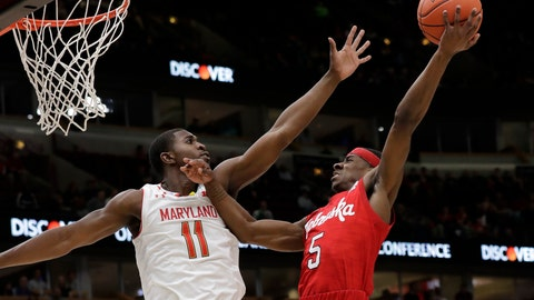 <p>               Nebraska's Glynn Watson Jr. (5) shoots against Maryland's Darryl Morsell (11) during the first half of an NCAA college basketball game in the second round of the Big Ten Conference tournament, Thursday, March 14, 2019, in Chicago. (AP Photo/Nam Y. Huh)             </p>