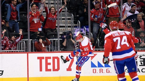 <p>               Washington Capitals left wing Andre Burakovsky (65) celebrates his goal during the first period of the team's NHL hockey game against the New Jersey Devils, Friday, March 8, 2019, in Washington. At right is Capitals defenseman John Carlson. (AP Photo/Nick Wass)             </p>