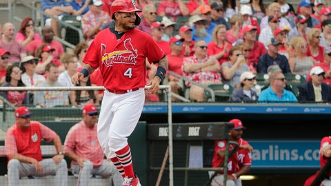 <p>               St. Louis Cardinals' Yadier Molina (4) scores in the first inning during an exhibition spring training baseball game against the Washington Nationals on Friday, March 8, 2019, in Jupiter, Fla. (AP Photo/Brynn Anderson)             </p>