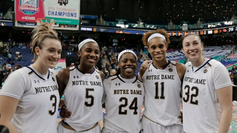 <p>               Notre Dame players Marina Mabrey (3), Jackie Young (5), Arike Ogunbowale (24), Brianna Turner (11) and Jessica Shepard (32) pose for a photo after their team defeated Louisville in an NCAA college basketball game in the championship of the Atlantic Coast Conference women's tournament in Greensboro, N.C., Sunday, March 10, 2019. (AP Photo/Chuck Burton)             </p>