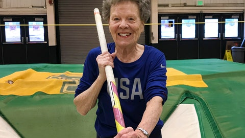"<p>               In this Thursday, March 13, 2019 photo, Florence ""Flo"" Filion Meiler, an 84-year-old record-setting pole vaulter, poses while training at the University of Vermont indoor track in Burlington, Vt. Meiler is headed to the world championships in Poland. She is competing in track and field events including the long jump, 60-meter hurdles, 800-meter run and pentathlon. But she's a shoo-in for the pole vault. (AP Photo/Lisa Rathke)             </p>"