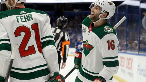 <p>               Minnesota Wild left wing Jason Zucker (16) celebrates his goal against the Tampa Bay Lightning with center Eric Fehr (21) during the third period of an NHL hockey game Thursday, March 7, 2019, in Tampa, Fla. (AP Photo/Chris O'Meara)             </p>