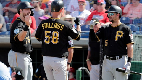 <p>               Pittsburgh Pirates' Jacob Stallings (58) is congratulated by Will Craig, left, and Lonnie Chisenhall (5) after hitting a two-run home run in the fifth inning during a spring training baseball game against the Philadelphia Phillies, Friday, March 1, 2019, in Clearwater, Fla. (AP Photo/Lynne Sladky)             </p>