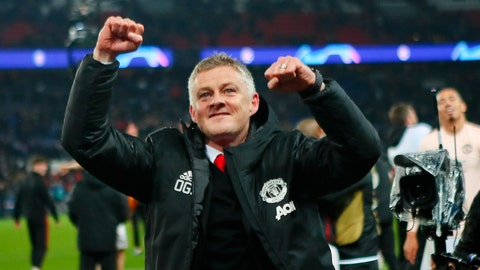 <p>               Manchester United caretaker head coach Ole Gunnar Solskjaer celebrates after the Champions League round of 16, second leg soccer match between Paris Saint Germain and Manchester United at the Parc des Princes stadium in Paris, France, Wednesday, March. 6, 2019. (AP Photo/Francois Mori)             </p>
