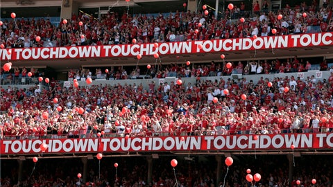 <p>               FILE - In this Sept. 15, 2018, file photo, Nebraska fans release red balloons after a touchdown against Troy during the first half of an NCAA college football game in Lincoln, Neb. Just over half of surveyed students at the University of Nebraska-Lincoln said they want red balloons to keep soaring over Memorial Stadium after touchdowns despite protests about the environmental impact, The Lincoln Journal Star reported. The university uses biodegradable balloons tied with cotton string to minimize the environmental impact. (AP Photo/Nati Harnik, File)             </p>
