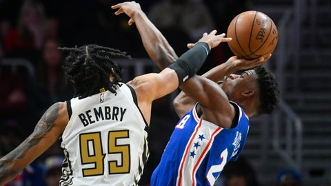 <p>               Philadelphia 76ers guard Jimmy Butler, right, is fouled by Atlanta Hawks forward DeAndre' Bembry (95) during the first half of an NBA basketball game Saturday, March 23, 2019, in Atlanta. (AP Photo/John Amis)             </p>