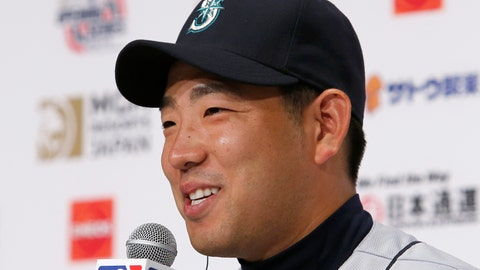 <p>               Seattle Mariners pitcher Yusei Kikuchi speaks during a press conference in Tokyo, Saturday, March 16, 2019. Just as he was adjusting to life in the United States, Kikuchi is back in Japan getting ready to make his Major League pitching debut in front of a sellout crowd at Tokyo Dome. Kikuchi will be on the mound in Game 2 of the MarinersÅf season-opening series in Japan. (AP Photo/Toru Takahashi)             </p>