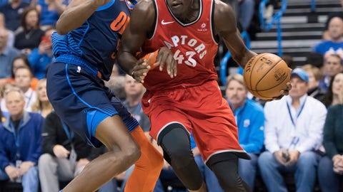 <p>               Toronto Raptors forward Pascal Siakam (43) drives to the basket past Oklahoma City Thunder forward Jerami Grant (9) during the first half of an NBA basketball game Wednesday, March 20, 2019, in Oklahoma City. (AP Photo/Rob Ferguson)             </p>
