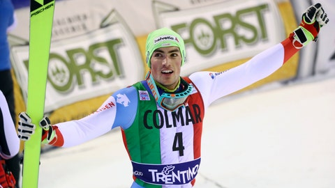 <p>               FILE - in this file photo dated Saturday, Dec. 22, 2018, Switzerland's Daniel Yule in finish area during the second round of a ski World Cup Men's Slalom, in Madonna Di Campiglio, Italy.  Swiss skier Daniel Yule announced Monday March 4, 2019, he will give half his prize money this month to an athlete-backed charity campaigning against climate change. (AP Photo/Alessandro Trovati, FILE)             </p>