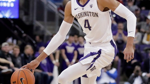 <p>               FILE - In this March 6, 2019, file photo, Washington guard Matisse Thybulle (4) drives against Oregon State during the first half of an NCAA college basketball game, in Seattle. Thybulle was named Player of the Year in the Pac-12, Tuesday, March 12, 2019. (AP Photo/Ted S. Warren, File)             </p>