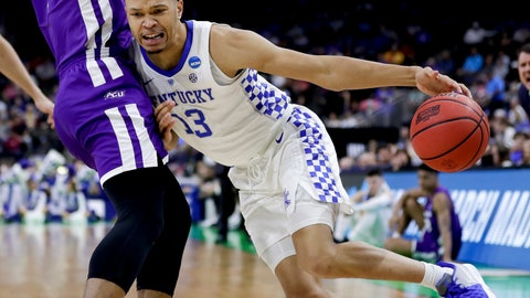 <p>               Kentucky's Jemarl Baker Jr. (13) makes a move to get past Abilene Christian's Jaylen Franklin during the first half of a first-round game in the NCAA men's college basketball tournament in Jacksonville, Fla. Thursday, March 21, 2019. (AP Photo/John Raoux)             </p>