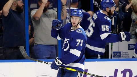 <p>               Tampa Bay Lightning center Anthony Cirelli (71) celebrates his goal against the Boston Bruins during the third period of an NHL hockey game Monday, March 25, 2019, in Tampa, Fla. (AP Photo/Chris O'Meara)             </p>