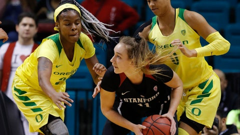 <p>               Oregon's Ruthy Hebard, left, and Satou Sabally, right, guard Stanford's Alanna Smith during the first half of an NCAA college basketball game in the final of the Pac-12 women's tournament Sunday, March 10, 2019, in Las Vegas. (AP Photo/John Locher)             </p>