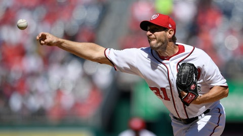 <p>               Washington Nationals starting pitcher Max Scherzer delivers a pitch during the first inning of a baseball game against the New York Mets, Thursday, March 28, 2019, in Washington. (AP Photo/Nick Wass)             </p>