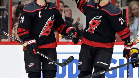 <p>               Carolina Hurricanes' Justin Williams (14) is congratulated by Nino Niederreiter (21), of the Czech Republic, following Williams' goal against the Buffalo Sabres during the second period of an NHL hockey game in Raleigh, N.C., Saturday, March 16, 2019. (AP Photo/Gerry Broome)             </p>