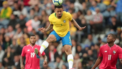 <p>               Brazil's Gabriel Jesus heads the ball during the friendly soccer match between Brazil and Panama at the Dragao stadium in Porto, Portugal, Saturday, March 23, 2019. (AP Photo/Luis Vieira)             </p>