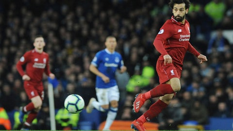 <p>               Liverpool's Mohamed Salah controls the ball during the English Premier League soccer match between Everton and Liverpool at Goodison Park in Liverpool, England, Sunday, March 3, 2019. (AP Photo/Rui Vieira)             </p>