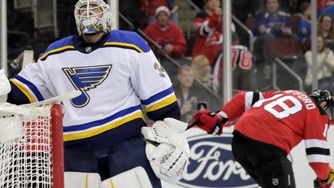 <p>               St. Louis Blues goaltender Jake Allen, left, looks on as New Jersey Devils right wing Drew Stafford (18) skates away after Stafford scored a goal against him during the second period of an NHL hockey game, Saturday, March 30, 2019, in Newark, N.J. (AP Photo/Julio Cortez)             </p>