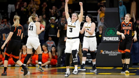 <p>               Iowa guard Makenzie Meyer (3) celebrates at the end of a first-round game against against Mercer in the NCAA women's college basketball tournament, Friday, March 22, 2019, in Iowa City, Iowa. Iowa won 66-61. (AP Photo/Charlie Neibergall)             </p>