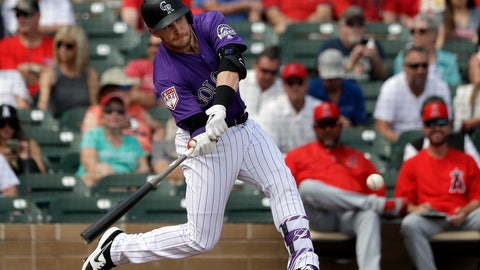 <p>               Colorado Rockies' Trevor Story doubles against the Los Angeles Angels in the second inning of a spring training baseball game Wednesday, March 6, 2019, in Scottsdale, Ariz. (AP Photo/Elaine Thompson)             </p>