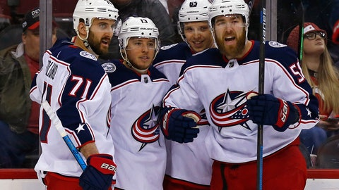 <p>               Columbus Blue Jackets right wing Cam Atkinson (13) celebrates with teammates after scoring a goal during the first period of an NHL hockey game against the New Jersey Devils, Tuesday, March 5, 2019, in Newark, N.J. (AP Photo/Adam Hunger)             </p>