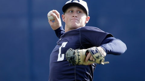 <p>               In this March 6, 2019, photo, California's Andrew Vaughn throws a ball during baseball practice in Berkeley, Calif. Vaughn began his junior season insistent he had no plans of figuring out a way to top his sensational sophomore season for California. That would be an overwhelming process considering he had among the best years in college baseball.  (AP Photo/Jeff Chiu)             </p>