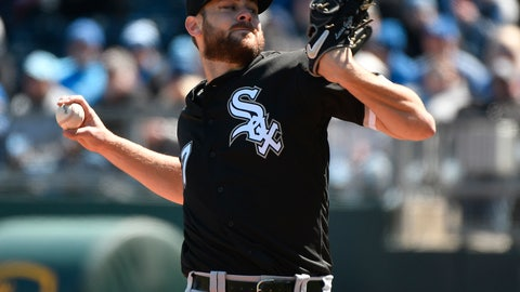 <p>               Chicago White Sox starting pitcher Lucas Giolito throws in the first inning of a baseball game against the Kansas City Royals, Sunday, March 31, 2019, in Kansas City, Mo. (AP Photo/Ed Zurga)             </p>