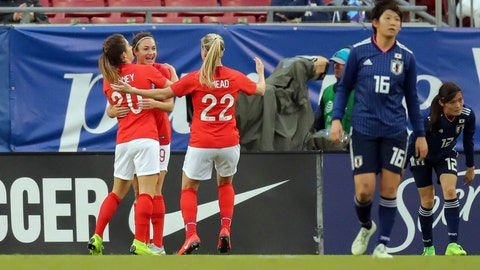 <p>               England's Jodie Taylor (9) celebrates a goal with Karen Carney (20) and Beth Mead as Japan's Arisa Matsubara (16) and Risako Oga react during the first half of a SheBelieves Cup soccer match Tuesday, March 5, 2019, in Tampa, Fla. (AP Photo/Mike Carlson)             </p>