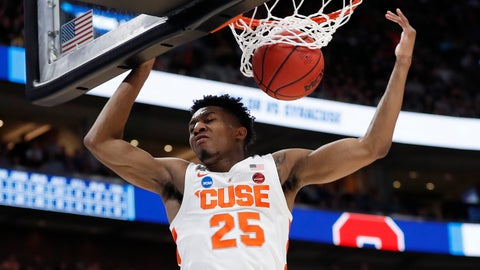 <p>               Syracuse guard Tyus Battle dunks against Baylor during the second half against Baylor in a first-round game in the NCAA men's college basketball tournament Thursday, March 21, 2019, in Salt Lake City. (AP Photo/Jeff Swinger)             </p>
